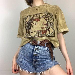 Vintage 90s Mineral Wash Gecko Hawaii Tan T-Shirt
